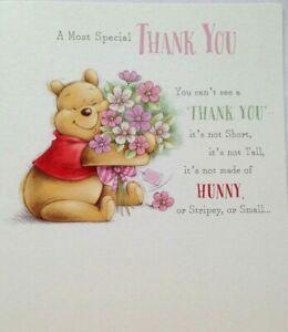 Winnie the Pooh Bear THANK YOU Greetings Card Appreciation Gratitude Hunny Thank