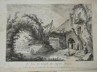 BELLE GRAVURE XVIII VUE TEMPLE MYTHOLOGIE POUZZOLS NAPLES NAPOLI ITALIE ITALIA a