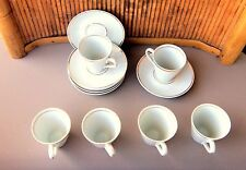 Set of 6 R S Paulo Demitasse Cups and Saucers / Brazil / White with Gold Trim