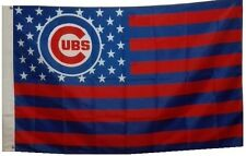 Chicago Cubs Baseball Stars and Stripes Banner Flag 3'x5'