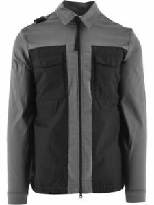 MA.STRUM Mens Zip Through Overshirt in Grey Cotton with Pockets
