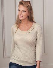 BRAVISSIMO Stripe Bow Detail Jersey Top in Stone Cream Color (60)