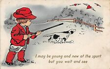 A30/ HUNTING Hunter GUN Rifle Postcard c1910 Child Pointer Dog Hearts Sport 29