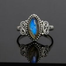 Marquise Labradorite Gemstone Ring Branded Jewellery 925 Sterling Silver BoxGift