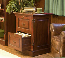 La Roque Premium Solid Mahogany Dark Wood Two Drawer Office Filing Cabinet