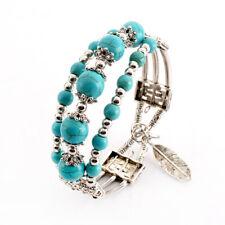 Bohemia Women Jewelry Silver Multi-layer Turquoise Bangle Charm Ethnic Bracelet