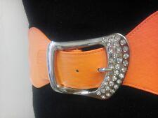 Women Elegant Elastic Waist Orange Belt With Rhinestones Buckle Sizes S M L