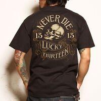 LUCKY 13 NEVER DIE SKULL BIKER PUNK TATTOO ROCKABILLY HOT ROD T TEE SHIRT S-4XL
