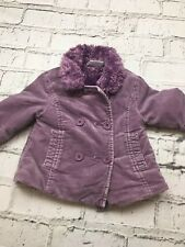 Baby Girl's Next Coat Purple Fur Lined Suede Feel 6-9 Months