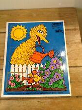Vintage Playskool Wood Puzzle Big Bird Little Bird #315-20 GC