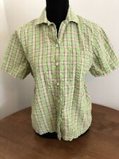 Denim & Co Green Plaid Gingham Blouse Button Front Top Size Large Short Sleeve