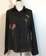 Sheer Black Blouse L Floral Embroidered Agapo Top Button Front Summer Chiffon