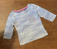 Womens Joules S_Marianne Striped Top T-shirt Flower Pocket 3/4 Sleeve UK 6