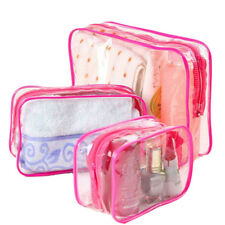 PVC Clear Plastic Pouch Travel Bathing Toiletry Zipper Cosmetic Bag 3 Sizes GS