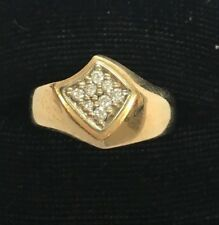 14K SOLID YELLOW GOLD FREE FORM .25 CARAT DIAMOND RING size 9