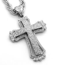 "Mens Large Hollow Cross Silver Iced Out Pendant 30"" Inch Necklace Rope Chain G09"