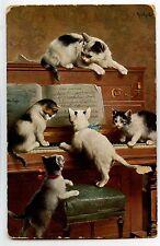 ILLUSTRATEUR REICHERT. CHAT. CAT. KATZE. PIANO. INSTRUMENT DE MUSIQUE.
