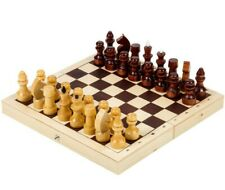 """9x9"""" Classic Chess Set in Folding Wooden Board, Travel Compact Case Made Russia"""