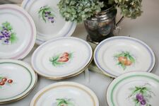 "Antique Hand Painted Plates Fruit Berries Gold Rims Pastel Trim 9.75"" set of 10"