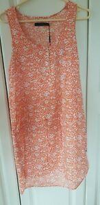 CALVIN KLEIN CK JEANS size S ORANGE WHITE FLORAL summer beach holiday DRESS