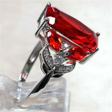 Women Luxurious 925 Silver Large Red Ruby Jewelry Ring Wedding Band Size 6-10