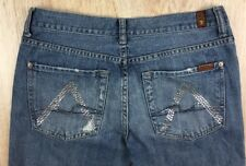 "USED Womens 31 - 7 For All Mankind Flare ""A"" Pocket Destroyed Embroidered Jeans"