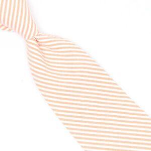 Rugby Ralph Lauren Boys Seersucker Necktie Peach White Stripe Cotton Tie Short