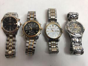 Vintage Lot of 4 Seiko Men's 2 Tone Stainless Steel Quartz Watches