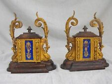 Pair of Antique European Enamel Porcelain Ormolu Bronze Covered Garniture Box-es