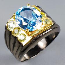 Vintage Natural Blue Topaz 925 Sterling Silver Ring Size 6.5/R120924
