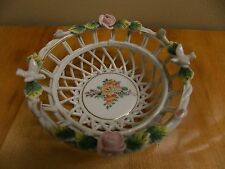 """CHINA MADE IN JAPAN BASKETWEAVE FLORAL DOVE BASKET 5"""" ACROSS"""