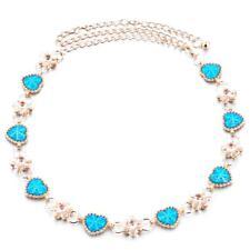 Mode Femmes Amour Coeur Fleur Bleu strass bijoux Ceinture Chaîne Ceinture
