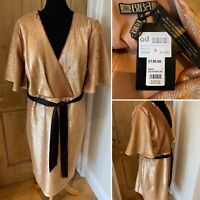 BIBA Heavy Rose Gold Sequin Dress Size UK 18 Faux Wrap Party Wedding RRP £130
