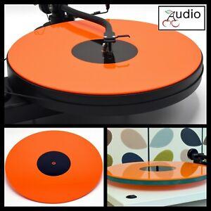 Gloss Orange Acrylic Turntable Platter Mat. Fits REGA, PRO-JECT Record Player