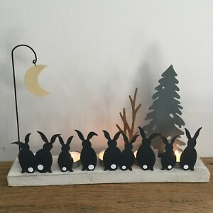 Moon Struck Rabbits Tea Light Decoration Christmas Candle Holder Bunny Table