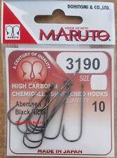 AMI PESCA ABERDEEN 3190 SIZE 3 MARUTO OCCHIELLO BLACK NICKEL HOOKS JAPAN MARE
