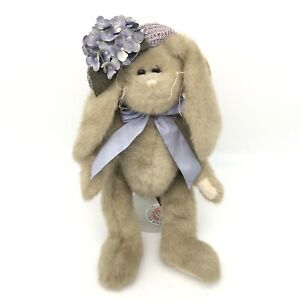 The Bearington Collection Plush Bunny Leah #4116 with Lilac Hat and Bow Jointed