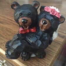 Wedding Bears Bride Groom Carved Wood Look Figurine Statue Ornament Lipco L19040