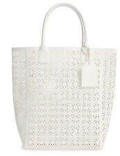 LIMITED Edition Tory Burch Large White/Ivory Lace Perfprated Patent Tote Bag.NWT