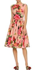 DOLCE & GABBANA  Rose Print Cap Sleeve Poplin Dress Pink Multi 48 IT New