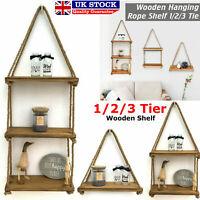 Rustic Hanging Rope Wooden Shelves Holder Floating Shelf Storage Rack Home Decor