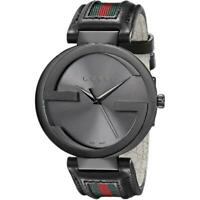 Gucci YA133206 Men's Interlocking Black Leather with Red and Green 42MM Watch.