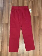 Red Cotton Spandex Pants by Hannah size 8 MISSING INTERIOR button
