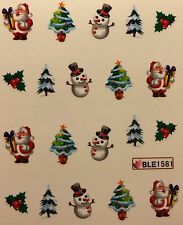 Nail Art Water Decals Christmas Tree Santa Snowman Holidays Ble1581