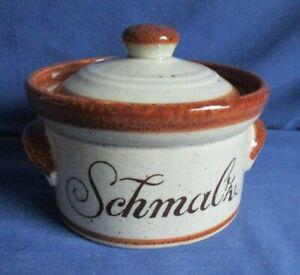 Schramberg Schmalztopf, Keramik Dose Schmalz Handgemalt Brauntöne