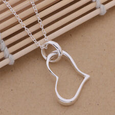 wedding new Silver Plated charm fashion Pretty women Wedding heart Necklace P80