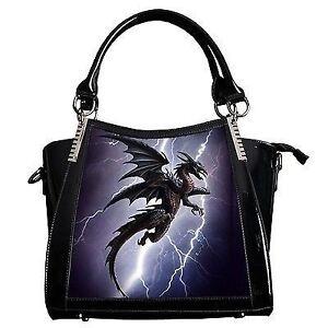 Alchemy Gothic Handbag Lightning Dragon 3D Black Fantasy Lenticular Bag Goth