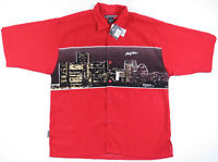 Vintage 90s Johnny Blaze Detroit City Print Short Sleeve Button Up Shirt L NWT