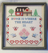 """Cross Stitch Framed Under Glass Finished Piece Home is Where the Heart Is 11"""""""