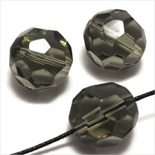 Lot de 10 perles à FACETTES 14mm en Cristal de Bohème Black Diamond